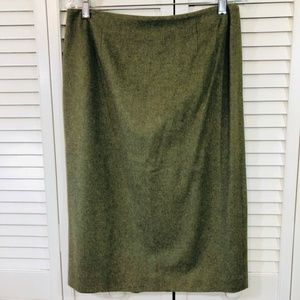 Ann Taylor Womens Pencil Skirt Green Back Slit 10